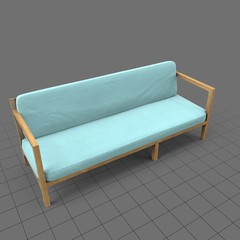 Wood patio couch with cushions