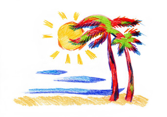 Palms, the sea and the sun, drawn in pencil