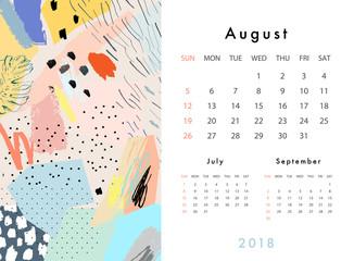 Calendar 2018. Printable creative template. Abstract modern art.