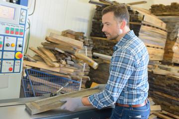 Male woodyard worker