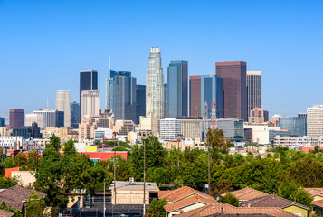 Keuken foto achterwand Los Angeles Los Angeles, California, USA downtown cityscape at sunny day