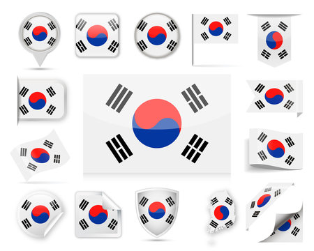 South Korea Flag Vector Set