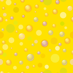 Seamless pattern. Bubbles and circles on a yellow background. Children's wallpaper. Kids background.