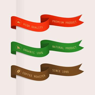 ribbons set vintage design. premium guaranteed quality of product flag.