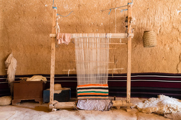Hand loom in a berber cave house