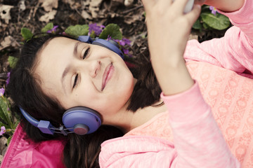 Girl Happy Headphones Violet Smiling