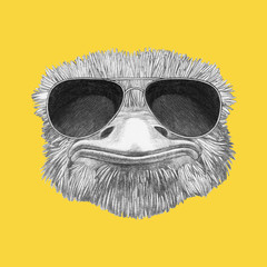 Portrait of Ostrich with sunglasses. Hand-drawn illustration.