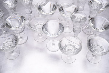 Group of drinking glasses standing on table