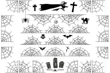 Halloween spiderweb borders and corners. Vector cobweb frame and dividers isolated on white with spider web for scary design.