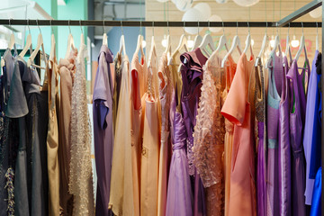 Stand for hangers with women's dresses