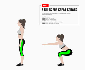 Sport exercises. Exercises with free weight. Squat. Illustration of an active lifestyle.