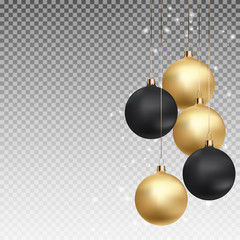 Gold and Black Christmas Ball with Ball on Transparent Background Vector Illustration