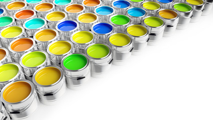 Colurful paint buckets on white background - 3D Rendering
