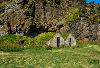 Iceland. Traditional Icelandic houses with grass roof in Skogar Folk Museum, Iceland.