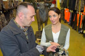 Customer looking at hunting gear