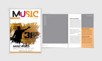 Music magazine layout. Easy editable vector