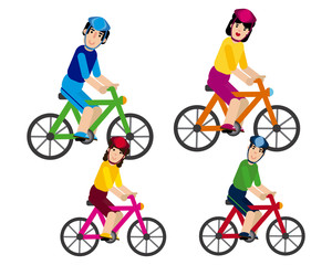 Family walking on a bicycle