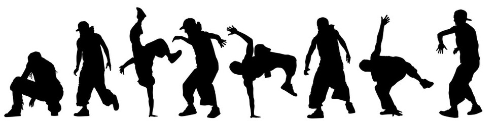 Dancing street dance silhouettes