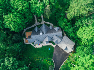 Overhead drone shot of a house