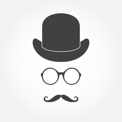 Glasses, hat and mustache. Old fashioned gentleman accessories icon set. Vintage or hipster style. Vector illustration.