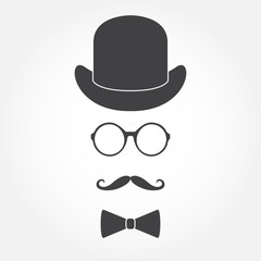 Glasses, hat, mustache and bowtie. Old fashioned gentleman accessories icon set. Vintage or hipster style. Vector illustration.