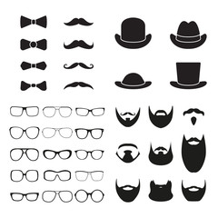Gentleman accessories icon set. Glasses, hat, beard, mustache and bowtie. Vintage or hipster style. Vector illustration.