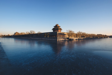 The Forbidden City and moat in winter,Beijing