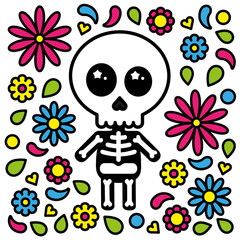 Cute skeleton character day of the dead flowers background