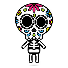 Sugar skull character isolated day of the dead concept