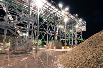 Deurstickers Industrial geb. Sugar plant installations at night. Night industrial landscape.