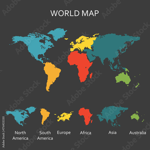 world map with continents map infographics template vector