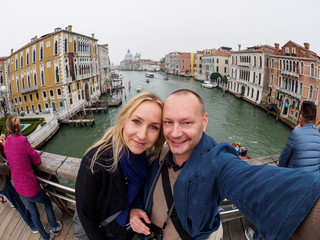 Selfie of couple in Venice