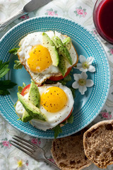 Breakfast Egg and Avocado Sandwich From Overhead