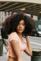 Latin American Afro Woman in the Streets of New York