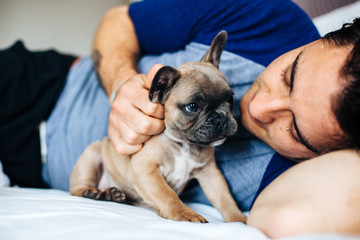 Caucasian man lying in bed with a french bulldog puppy
