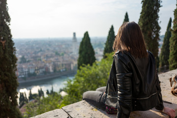 View over Verona with girl