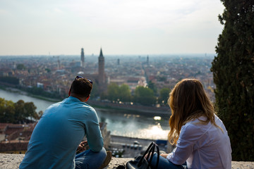 couple enjoying View over Verona