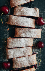 Delicious strudel with cherries