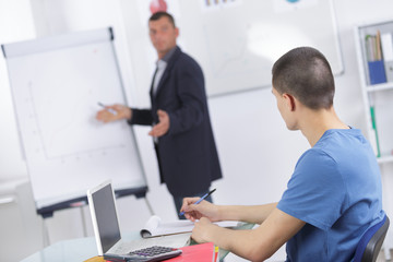 man draws trading diagramms on the papper presentation board