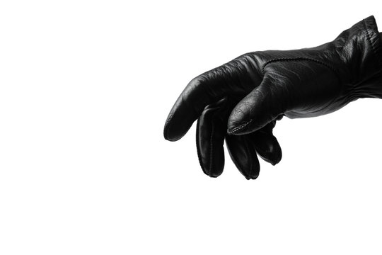 Black glove on white background