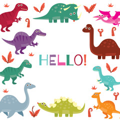 Cute dinosaur birthday greeting card design template.