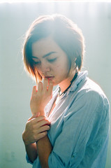 Cool Color Film Portrait of Young Woman