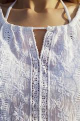 white embroidery shirt closeup