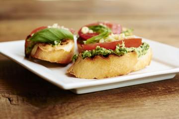 Bruschetta with turnip green pesto