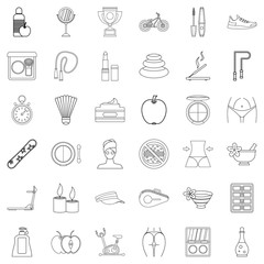 Health icons set, outline style