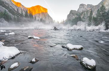 winter sunset in Yosemite Valley