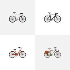 Realistic Exercise Riding, Working, Road Velocity And Other Vector Elements. Set Of Bike Realistic Symbols Also Includes Bicycle, Bike, Old Objects.