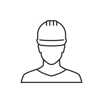 Worker outline icon. Vector illustration.