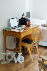 Student Cozy Desk in a Bedroom