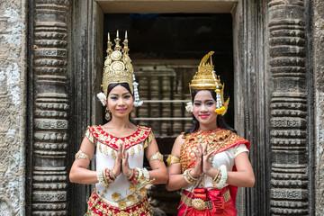Two khmer Apsara dancers, Angkor temples, Cambodia